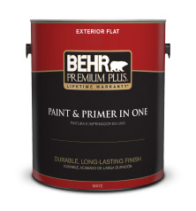 Can of Behr Premium Plus Exterior Flat paint