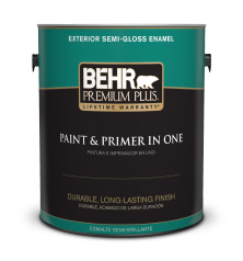 Can of Behr Premium Plus Semi Gloss Enamel Paint